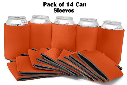 Blank Can Sleeves - Bulk Set of 14 Beer Sleeve/Neoprene Sleeves - For Can/Beer Cooler 12-16 OZ - Extra Thick Neoprene with Stitched Fabric Edges - Great for Weddings, Parties, BBQ - By Ombrace