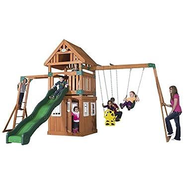 Backyard Discovery Castle Peak All Cedar Wood Playset Swing Set