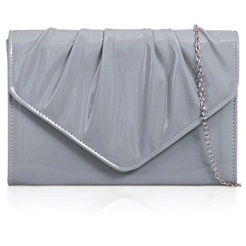 Leatherette Vinyl Evening Grey Wedding Xardi Women Bag London Medium Clutch Ladies Patent Envelope ZFIzO