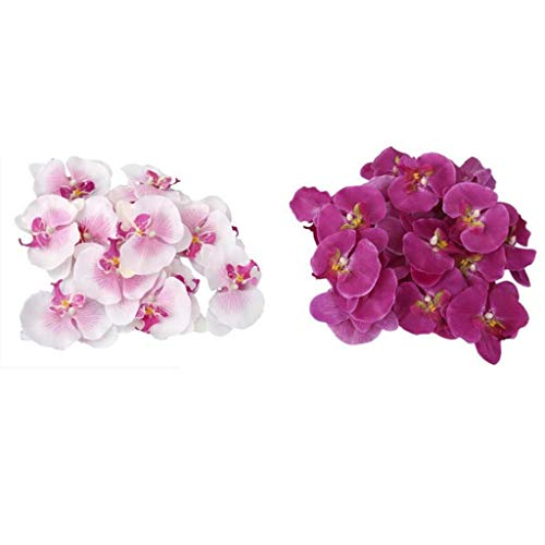 40x White Purple Artificial Butterfly Orchid Corsage Wrist Flower Bridal
