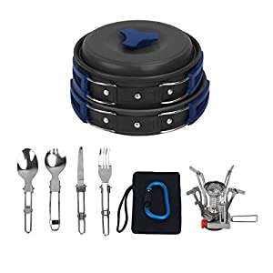 Bisgear 16Pcs Camping Cookware Stove Carabiner Canister Stand Tripod Folding Spork Set Outdoor Camping Hiking Backpacking Non-Stick Cooking Picnic Knife Spoon