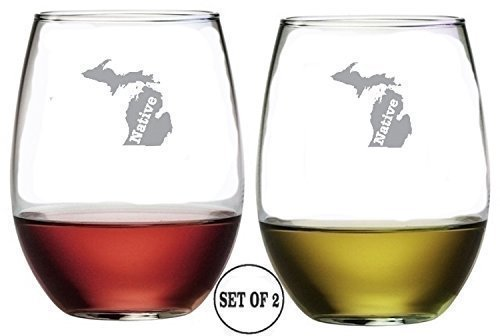 Michigan State stemless wine glasses set of 2 Etched By Hand Souvenir Of Home Sweet Home Hand (Souvenir Wine)