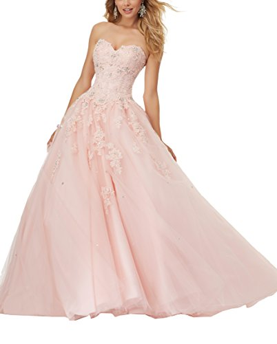 Pink Corset Dress (Eldecey Women's Lace Bodice Corset Back Sweet 15 Tulle Ball Gown Long Prom Quinceanera Dress Light Pink US22W)