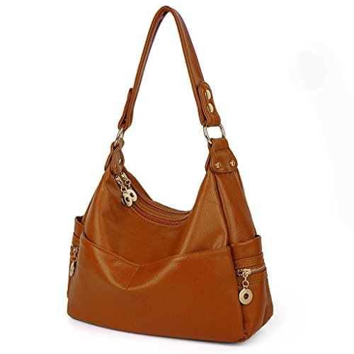 Blue Cross Body UTO Bag Leather PU Hobo Tote Style Handbag Shoulder Brown 074 Women Bag gznqgvO