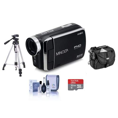 Minolta MN50HD 1080p Full HD 20MP Digital Camcorder, Black – Bundle with 32GB MicroSDHC Card, Video Case, Tripod, Cleaning Kit