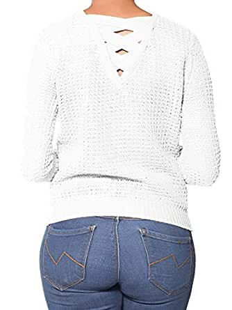 Instar Mode Women's Criss Cross Braided Back Solid Cable Knit Pullover Sweater Top Ivory S