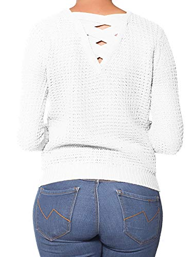 (Instar Mode Women's Criss Cross Braided Back Solid Cable Knit Pullover Sweater Top Ivory L)