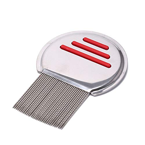 (stainless steel lice comb kids hair rid headlice thread teeth remove nits combPT (color - red))