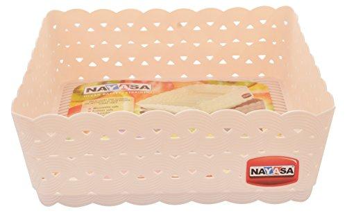 Nayasa Plastic Basket Set, Set of 3, Light Pink