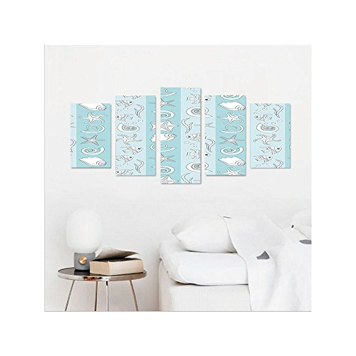 Liguo88 Custom canvas Nautical Marine Theme Sea Animals Fishes Shells on Striped Blue Background Wall Hanging for Bedroom Living Room Baby Blue Light Blue White