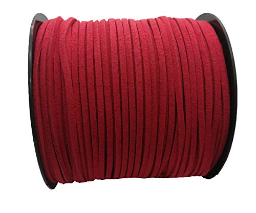 Pamir Tong Strong Suede Leather Lace 100 Yards 2.6mm Faux Leather Cord for Jewelry Making Tassels Bracelet Necklace DIY (Red) (Red Cord Necklace)