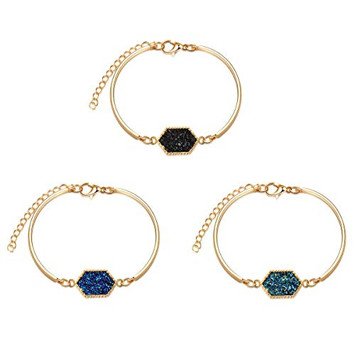 (MissNity Women Girls Bangle Bracelet 14k Gold Plated in Black Blue White Faux Druzy Stone Sparkly Hexagon Quartz Bracelet Gift for Her (Gold Set+ Black/Green/Blue))