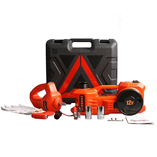12V DC 1 Ton Electric Hydraulic Floor Jack Set with Impact Wrench For Car Use (6.1-17.1 inch, Orange) by EAMBRTE (Image #3)