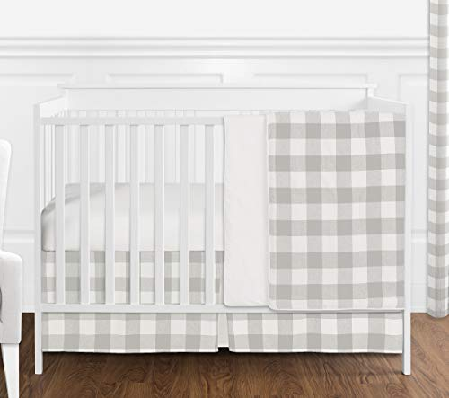 Sweet Jojo Designs Gray and White Rustic Farmhouse Woodland Flannel Grey Buffalo Plaid Check Baby Unisex Boy or Girl Nursery Crib Bedding Set Without Bumper - 4 Pieces - Country Lumberjack ()
