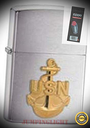 - 280anc Navy Anchor Brushed Lighter with Flint Pack - Premium Lighter Fluid (Comes Unfilled) - Made in USA!