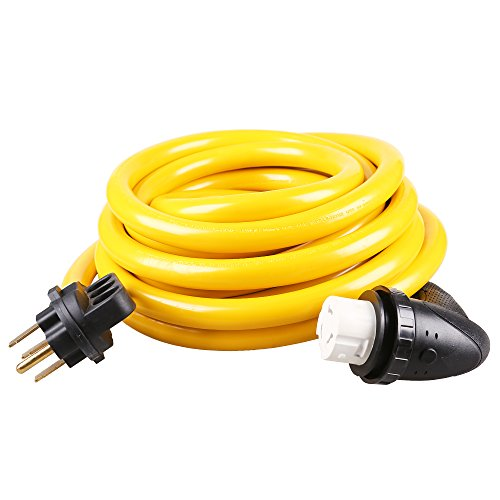 Epicord Heavy Duty Outdoor RV Extension Cord 50 Amp Standard Male with Easy Powergrip Handles to 50 Amp 90 Degree Female with Twist Locking, 25 Feet ()