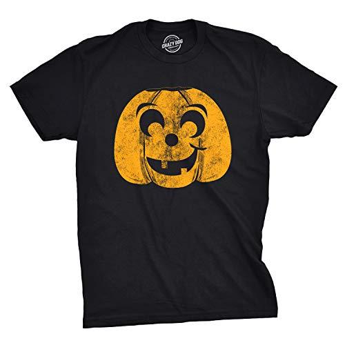 Mens Halloween Eyebrow Pumpkin Tshirt Funny JackoLantern Tee for Guys (Black) - 5XL