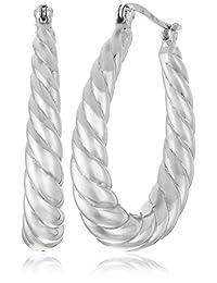 Sterling Silver Textured Oval Hoop Earrings