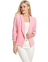 POGT Women 3/4 Sleeve Blazer Open Front Cardigan Jacket Work Office Blazer