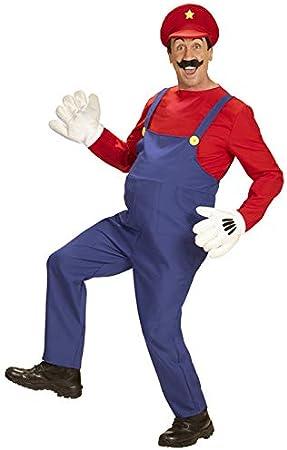 Disfraz de tamaño súper Fontanero Estilo Mario para Adulto Large ...