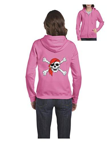 Pirate Birthday Party Halloween Costume Idea Jolly Roger Skull Crossbones Women's Full-Zip Hooded (MAP) Azalea Pink