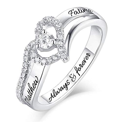 Personalized Name Rings Birthstones Promise Rings for Women Couple Engagement Heart Rings Band
