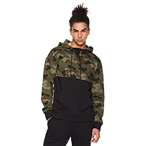 Rebel Canyon Men's Young FR Terry Long Sleeve Camo Blocked Pullover Hoody with Front Pouch Pocket Medium Green Camo