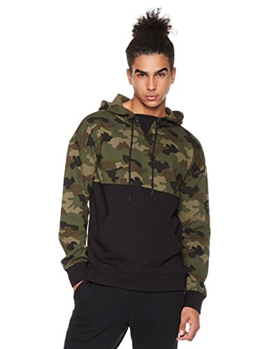 (Rebel Canyon Men's Young Fr Terry Long Sleeve Camo Blocked Pullover Hoody with Front Pouch Pocket X-Large Green Camo)