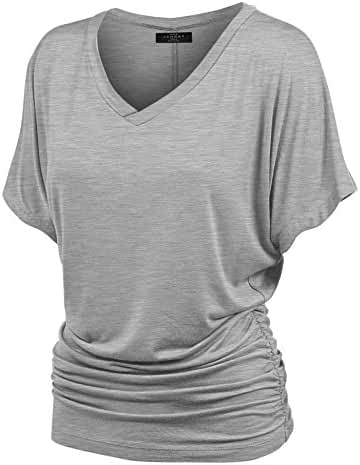 MBJ Womens Solid Short Sleeve Boat Neck Dolman Top with Side Shrring - Made in USA