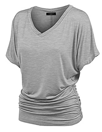 Made By Johnny WT1037 V Neck Short Sleeve Dolman Top With Side Shirring XS Heather_Grey