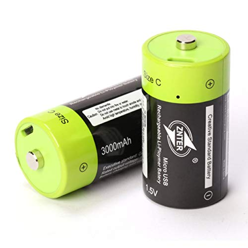 anyilon ZNTER ZNT2-1 Universal C Size 1.5V 3000mAh Rechargeable Lithium Polymer Battery Charged by Micro USB Cable