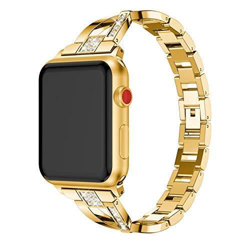 Ansenesna Watch Bands for Men Replacet Stainless Steel Crystal Strap Wrist Band for Watch 1/2/3 38mm (Gold)