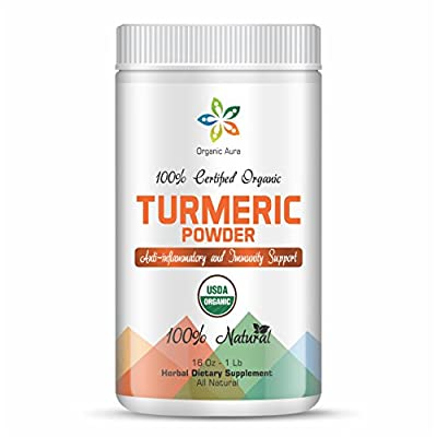 Certified Organic Turmeric Powder 16Oz - 1Lb. Triple protected container. Raw Whole Superfood. 100% All Natural, Fresh and Original. No GMO and Gluten Free.