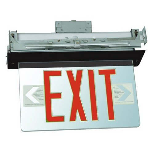 Morris Products LED Exit Sign - Recessed Mount Edge - Red on Clear Panel, Black Housing - Compact, Low-Profile Design - Double Sided Legend - Energy Efficient, High Output - 1 Count