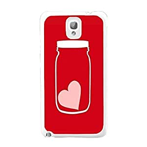 Protective Mobile Phone Back Case Hipster Hard Plastic Personalized Samsung Galaxy Note 3 N9005 Case Skin for Girls (love heart red BY407)