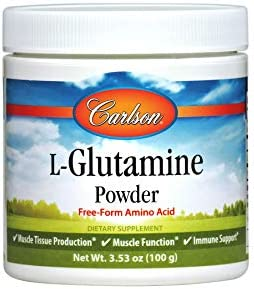 Carlson – L-Glutamine Powder, Free-Form Amino Acid, 3 g, Muscle Tissue Production Function, Immune Support, 3.53 oz 100 g