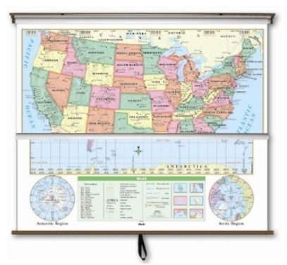 US/World Essential Combo Classroom Map on Roller w/ Brackets