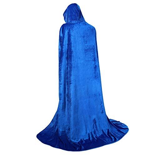 (Zhitunemi Full Length Hooded Cloak Long Velvet Role Cape for Halloween Cosplay Costume)