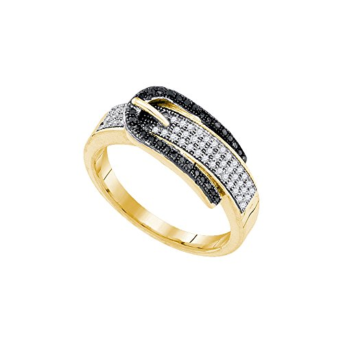 10kt Yellow Gold Womens Round Black Colored Diamond Belt Buckle Band Ring 1/4 (Black Diamond Belt Buckle)