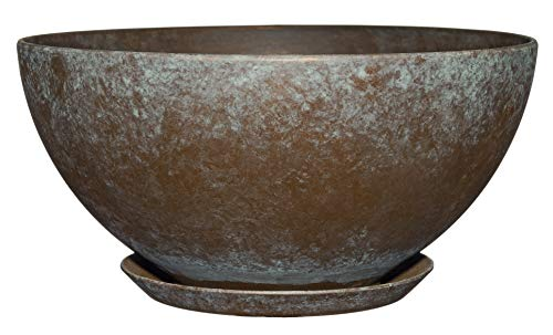 "Classic Home and Garden 9010D-377R 10"" Rosie Bowl Planter, Weathered Copper"