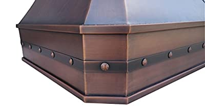 "Copper Best 30"" Wall Mount Range Hood in Copper with Stainless Steel Baffle Filters, 3 Speed Motor Controls and 660CFM Vent"