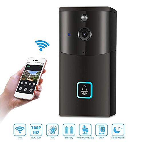 Wireless Doorbell, Smart 720P HD WiFi Security Camera with Two-Way Talk, Night Vision, PIR Motion Detection, Self storage function and App Control for iOS and Android (Batteries, SD Card NOT Included)