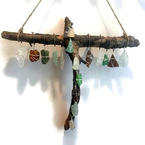 Driftwood Cross Sea Glass Suncatcher Whimsical Mobile Eco Friendly Art Upcycled Art Baptism Gift
