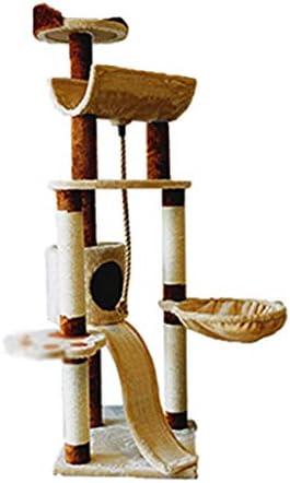 猫の木と塔、猫のひっかき板、サイザルで覆われた傷のポスト、おもちゃのマウス、はしご、猫のトレイ (Color : Dark brown)