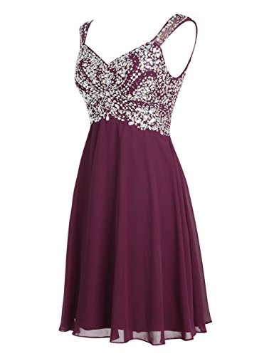 BeryLove Short Dress Lavender Party Women's Beading Chiffon Dress Straps Homecoming rqxnOrT1wv