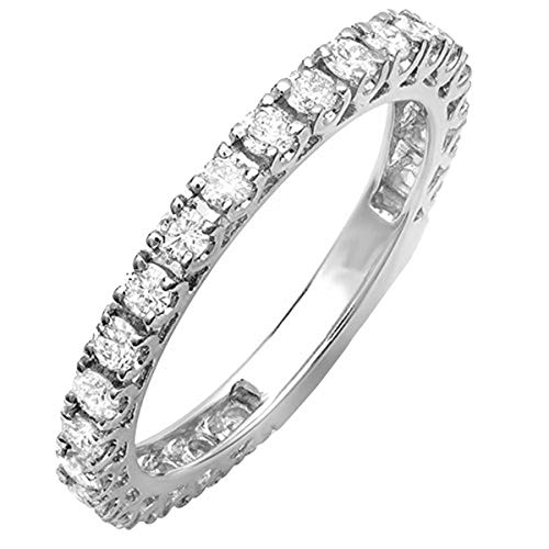 Dazzlingrock Collection 0.90 Carat (ctw) 14K Round Diamond Eternity Sizeable Stackable Wedding Band, White Gold, Size 7 (Wedding Ring With Diamonds All The Way Around)