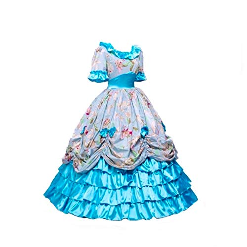 KEMAO Women's Victorian Rococo Dress Inspiration Maiden Costume (S:Height63-65 Chest34-35 Waist26-27, Green-)