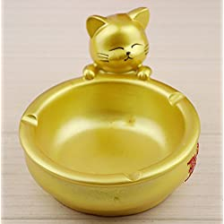 YOURNELO Cute Golden Cat Decorative Cigarette Ashtray Holder for Home Gift