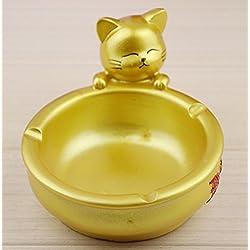YOURNELO Cute Golden Cat Decorative Cigarette Ashtray Holder for Home Gift