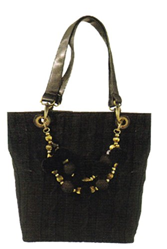 Maggi B Soft Touch Black Cable Knit Shopper Tote Bag (Patio Shopper)